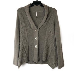 FREE PEOPLE Far Away Cable Knit Cardigan Sweater S